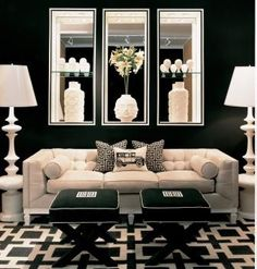 Striking black & white living room