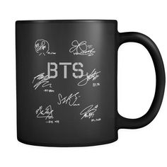 Bring a little joy to your mornings or dress up your desk all day with a cool coffee mug. The simple white or black coffee mug is made with strong ceramic and holds 11 ounces of coffee, tea, or hot ch Bts Memes, Mochila Do Bts, Bts Clothing, Black Coffee Mug, Accesorios Casual, Things To Buy, Stuff To Buy, Kpop Merch, Mode Hijab