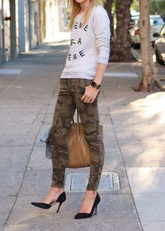 Camouflage pants & high heels