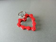 Bicycle Chain Bike Chain Heart Valentines Ornament or Key Chain