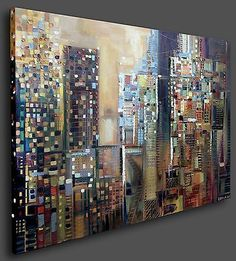 SOHO New York City 48x36 inch Oil Painting Skyline Abstract Modern Art Ermilkina