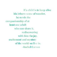 Rachel Carson Sense of Wonder Quote. My favorite thing about kids is doing this wth them