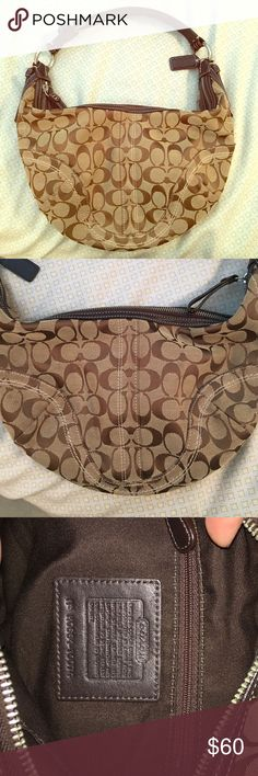 Coach Bag Brown and tan coach bag! Leather strap, fits over the shoulder, large enough to carry many personal items. PERFECT condition! No stains or cracks in the leather! Coach Bags Shoulder Bags