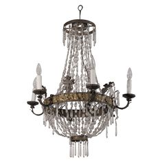 $6700 19th c. Empire Tole and Crystal Chandelier