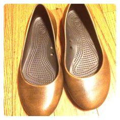 Bronze Crocs Bronze Crocs. Very cute, never worn.  No trade. crocs Shoes