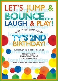 Bounce House Party Invitation Wording Luxury Diy Printable Bouncy Ball Birthday Party Invitation by Bouncy Ball Birthday, Bounce House Birthday, Bounce House Parties, Ball Birthday Parties, Birthday Fun, Birthday Stuff, Birthday Tags, Balloon Birthday, Balloon Party