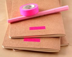 Neon Pink Triangle Notebook - Handpainted Geometric Moleskine - A5 B5 Journal Neon pink