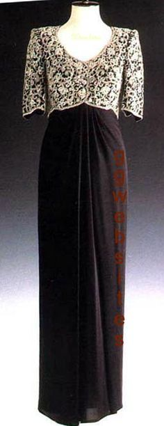 The Princess of Wales wore this Catherine Walker design on an official visit to India in 1992. This long black silk-crepe evening dress with an empire-style bodice was embroidered with diamanté paste. Ms. Walker tried to incorporate an Indian influence for the bodice decoration. Lot #39 was purchased by the Kate McEnroe, the head of American Movie Classics and raised $ 42,550 for Diana's charities.