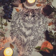 Floral Decorative Cat Drawing by Georgia Liliane. Body Art Tattoos, Tattoo Drawings, Hase Tattoos, Tattoo Samurai, Rite De Passage, Petit Tattoo, Theme Tattoo, Cat Tattoo Designs, Geniale Tattoos