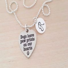 "-""Dogs Leave Paw Prints on our Hearts Necklace"" - BD Luxe Dogs & Supplies - 1"