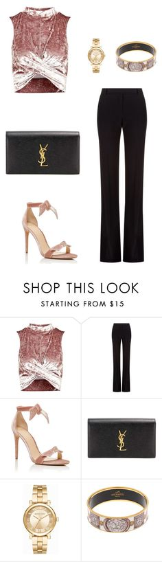 """Untitled #451"" by nadiralorencia on Polyvore featuring Topshop, Alexander McQueen, Alexandre Birman, Yves Saint Laurent, Michael Kors and Hermès"