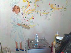 Ilustração que a amiga e artista plástica Jamaira Pacheco fez na cozinha de casa, em plano aberto.
