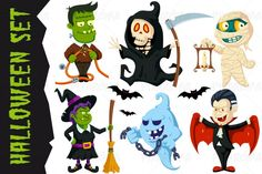 Halloween Flat Cartoon Characters Set By Pixaroma