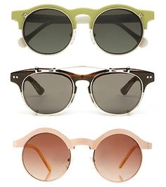 Carven Flip-Ups, Illesteva and Asos Keyhole Sunglasses. Love the pink ones!!!