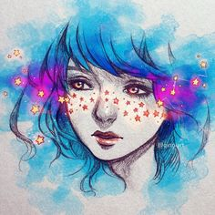 Risultati immagini per burning qinni Art And Illustration, Pretty Art, Cute Art, Arte Inspo, Yuumei Art, Galaxy Art, Cool Drawings, Art Sketches, Amazing Art