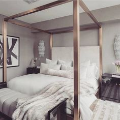 Such a chic bedroom! Love the rose gold bed frame! Credit: unknown, please DM for full credit! #GoldBedding
