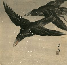 TAKAHASHI BIHO Two Crows Flying Through a Snowstorm, woodcut