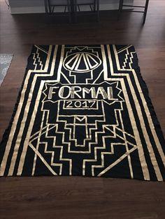 Great Gatsby banner for tridelta formal Phi Mu Shirts, Sorority Shirts, Big Little Basket, Sorority Formal, Fair Theme, Sorority Banner, Great Gatsby Theme, Sigma Chi, Sorority Big Little