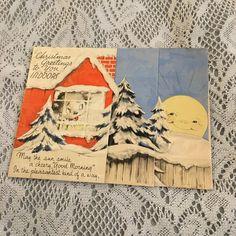 Vintage Greeting Card Christmas Deco Dog In Window Moon Anthropomorphic