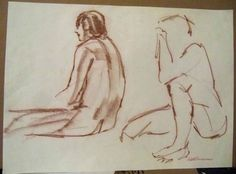 """TWO NUDES""  Ruth Freeman CONTE' /NEWSPRINT PAPER 16"" X  22 1/4""  #Realism"