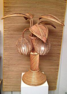 Rattan Wicker Palm Tree Lamp