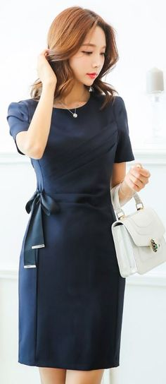 StyleOnme_Ribbon Tie Short Sleeve Fitted Dress #navy #elegant #ribbon #dress…