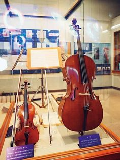 "Cello and violin at Miyazawa Kenji Museum in Iwate. On March 11, 2011 a great earthquake struck hard ""Ihatov"" Kenji's Dreamland Iwate."