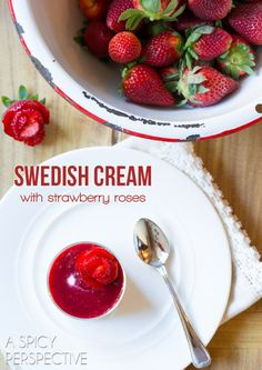 Silky Rich Swedish Cream with Berry Compote and Strawberry Roses #valentinesday