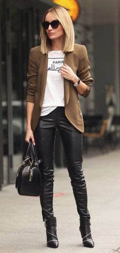 #winter #fashion /  Camel Blazer // Printed T-shirt // Skinny Leather Leggings // Leather Ankle Boots // Leather Tote Bag