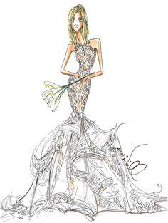 Jennifer Aniston's Wedding Dress: Theia Fantasy Sketch : Brides