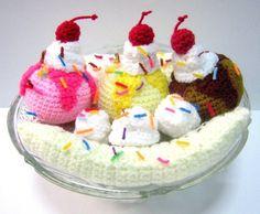 PDF Crochet Food Pattern Banana Split Ice Cream by melbangel Crochet Food, Love Crochet, Crochet Crafts, Crochet Dolls, Crochet Projects, Knit Crochet, Yarn Projects, Banana Split Ice Cream, Food Patterns