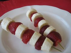 Cat in the Hat strawberry and banana skewers.