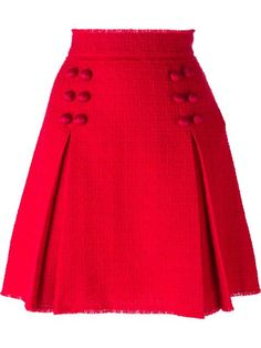 See this and similar Dolce&Gabbana mini skirts - Red silk blend and virgin wool blend front pleat button skirt from Dolce & Gabbana featuring a high waist, an a. Red Skirts, Cute Skirts, Short Skirts, Mini Skirts, Skirt Outfits, Dress Skirt, Pleated Skirt, Red A Line Skirt, African Fashion