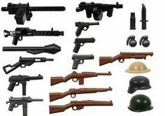 "BrickArms 2.5"" Scale World War II Weapons Pack [Version 3] by BrickArms. $17.00. This World War II Weapon Pack v3 includes the following:x1 OD Green Steel Pot Helmetx1 Gray Stahlhelm Helmetx1 Tan Brodie Helmetx1 Black Panzerfaustx1 Black Stenx1 Black M1919x1 Black M1911x1 Black MP40x1 Black P08 Lugerx1 Black Combat KnifeX1 Gun Metal MG34x1 Gun Metal TT-33 Tokarevx1 Gun Metal M3 Grease Gunx1 Gun Metal Tommy Gunx1 Brown Kar98x1 Brown M1 Carbine Full Stockx1 Brown M97 Trench Gunx..."