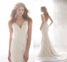 Wedding Lace Dresses New Madison James Wedding Dresses Spaghetti Strap V Neck Fully Lace Tulle Ball Gown Bridal Gowns With Chapel Train And Backless Wedding Dresses Websites From Liuliu8899, $149.53| Dhgate.Com