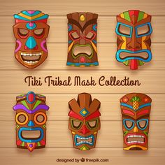 Free Collection of tiki mask with colorful details SVG DXF EPS PNG - Cutting file Luau Theme Party, Hawaiian Party Decorations, Hawaiian Luau Party, Hawaiian Tiki, Hawaiian Theme, Tropical Party, Anniversaire Luau, Tiki Maske, Tiki Statues