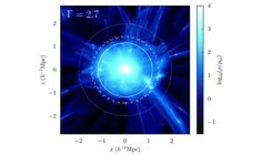 "Dark Matter Halos / An image of a simulated galaxy cluster showing evidence for a boundary, or ""edge"" from a 2015 paper in the Astrophysical Journal by Surhud More, Benedikt Diemer and Andre Kravtsov. Credit: Image courtesy of University of Pennsylvania Halo, Effective Time Management, Astronomy Pictures, Archaeology News, Discovery Channel, Online College, Dark Matter, Reading Material, Galaxies"