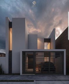 Glamorous and exciting architecture is an inspiration to us. See our entire collection of architecture-inspired lightin. Minimalist Architecture, Modern Architecture House, Facade Architecture, Modern House Design, Contemporary Design, Facade Design, Exterior Design, Exterior Colors, Beautiful Home Designs