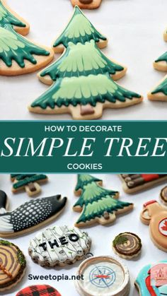 Caramel Royal Icing Recipe & Video of Decorating Camping Cookies - How to decorate simple tree cookies with royal icing. Marbling tips, icing recipe and tools used ar - Christmas Sugar Cookies, Christmas Sweets, Holiday Cookies, Christmas Baking, Christmas Cookies Cutouts, Decorated Christmas Cookies, Christmas Tree Biscuits, Royal Icing Decorated Cookies, Christmas Decor