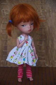 flowers and stripes secretdoll person dress set by poordittums