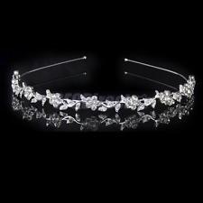 Rhinestone Flower Leaves Headband Hair Band Bridal Bridesmaid Wedding Prom Tiara
