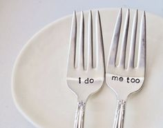 CUTE! I Do, Me Too - Vintage Wedding Cake Fork Set Personalized with Your Wedding Date & names.