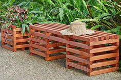 Create a place to sit and enjoy the outdoors with this easy-to-build wooden bench. Then use the same technique to make a matching planter surround.
