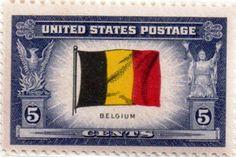 US postage stamp, 5 cents.  Belgium.  Issued 1943.  Scott catalog 914.