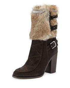X290U Laurence Dacade Merli Fur Triple-Buckle Boot, Beige/Brown