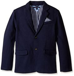 Tommy Hilfiger Boys' Knit Blazer with Gingham Lining >>> Details can be found at