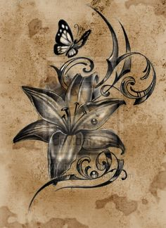 Butterfly and Flower Tattoo Designs | Lilly flower with butterfly tattoo design by gettattoo