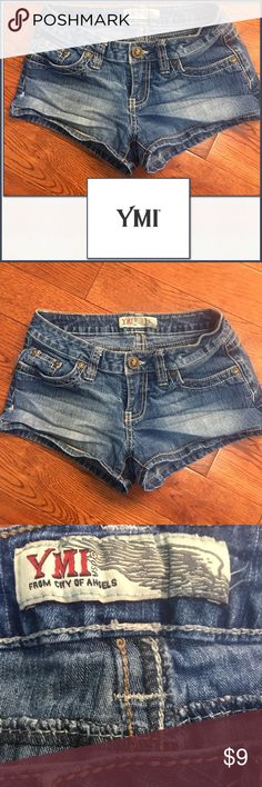 "NWOT YMI Jeans Shorts NWOT YMI Jeans Shorts ▪️New without tags. Daughter never wore. Please note the two threads on inside waistline tag, and the 4th pic where it is distressed. Bought like these. Please refer to all pics. ▪️Size: 0 US; Inseam Approx. 2"" ▪️Material: 82% Cotton/16% Polyester/2% Spandex ▪️Made: USA YMI Shorts Jean Shorts"