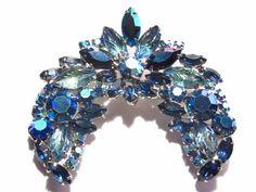 Vintage Blue Rhinestone Brooch Aurora Borealis by darsjewelrybox