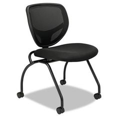 """Basyx VL302MM10, Nesting Chair Without Arms, 19-1/4 in.x18 in.x33-1/2 in., Black by Basyx. $342.30. Nesting chairs without arms offer comfortable and breathable mesh back and cushioned seat for your multipurpose seating needs. Seat flips up for portability and easy storage. Contemporary design includes the contoured mesh back, sleek black frame, upholstered seat, and easy rolling, 2"""" diameter, dual-wheel hooded casters. Each chair folds to 7-1/2"""" for nested storage...."""